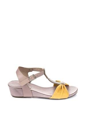 Bueno Sarı Gri Taşlı Deri Kadın Sandalet