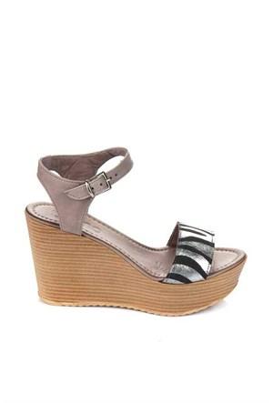 Bueno Gri Zebra Dolgu Topuk Deri Kadın Sandalet