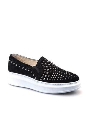 Cabani Taşlı Sneaker Kadın Ayakkabı Siyah Süet