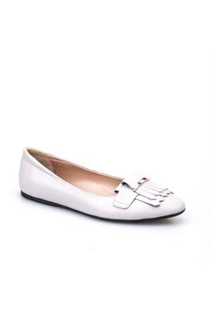 Cabani Püsküllü Günlük Kadın Ayakkabı Gri Kırma Deri