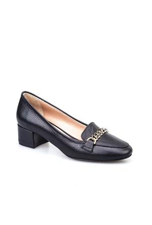 Cabani Aksesuarlı Günlük Kadın Ayakkabı Siyah Kırma Deri