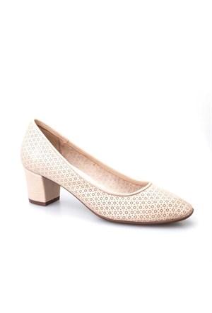 Cabani Baskılı Günlük Kadın Ayakkabı Bej Deri