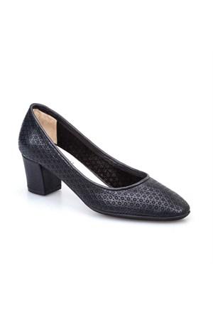 Cabani Baskılı Günlük Kadın Ayakkabı Siyah Kırma Deri