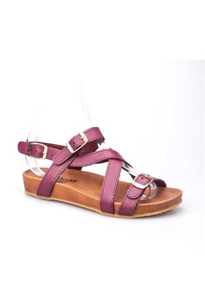 Cabani Tokalı Hakiki Deri Kadın Sandalet Bordo Deri