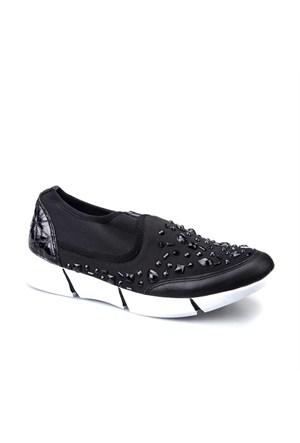 Cabani Bağcıksız Sneaker Kadın Ayakkabı Siyah Kumaş