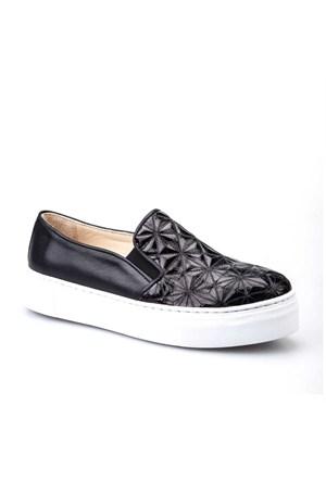 Cabani Croco Baskı Sneaker Kadın Ayakkabı Siyah Baskılı Deri