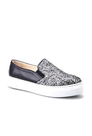 Cabani Croco Baskı Sneaker Kadın Ayakkabı Siyah