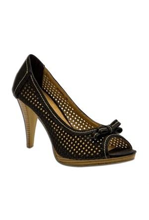 Escarpine Üst Bandı Fiyonklu Siyah Kadın Ayakkabı