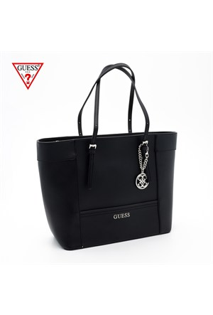 Guess Çanta Hwey45 35230 Delaney Med Classic Tote Black
