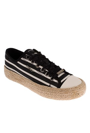 Dkny Barbara Jute Stripe Print Canvas 23158743 Kadın Ayakkabı Black Whıte