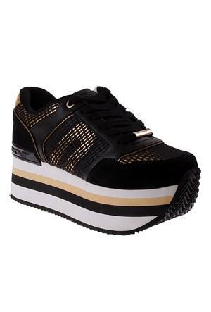 Dkny Jill Runway Soft Leather/Mirror Metal 23256378 Kadın Ayakkabı Black/Gold
