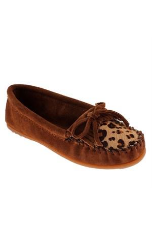 Minnetonka Full Leopard Moc 343F Kadın Ayakkabı Dusty Brown Suede