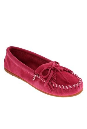 Minnetonka Kilty Suede Moc 401 Kadın Ayakkabı Hot Pink