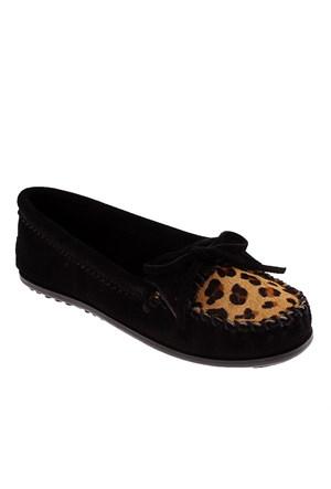 Minnetonka Full Leopard Moc 349F Kadın Ayakkabı Black Suede