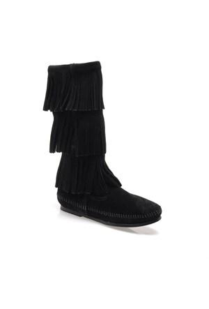 Minnetonka Calf Hi 3Layer Boot 1639 Kadın Ayakkabı Black Suede