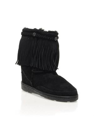 Minnetonka Fringe Classic Pug Boot 3559 Kadın Ayakkabı Black Sheepskın