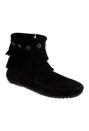 Minnetonka Double Fringe Side Zip Boot 699 Kadın Ayakkabı Siyah