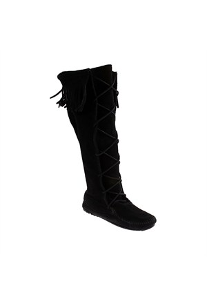 Minnetonka Front Lace Hardsole Knee Hi Boot 1429 Kadın Ayakkabı Siyah