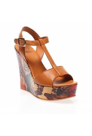 Due italiani Monica 200/1685 Kadın Brown Dolgu Topuk Ayakkabı