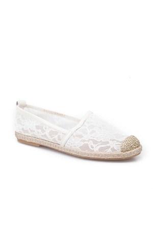Cabani Dantelli Günlük Kadın Ayakkabı Bej Deri