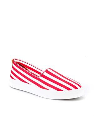 Cabani Bağcıksız Sneaker Kadın Ayakkabı Kırmızı