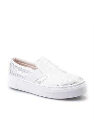 Cabani Yılan Baskı Sneaker Kadın Ayakkabı Gri