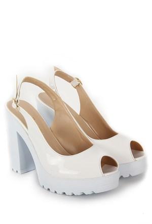Gön Kadın Sandalet 36131 Beyaz Rugan