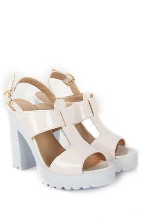 Gön Kadın Sandalet 36133 Beyaz Rugan