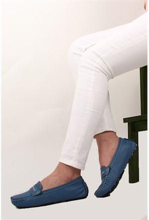 Gön Deri Kadın Babet 42044 Mavi