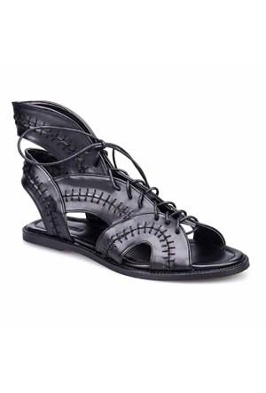 Crunell Kadın Sandalet Siyah Deri