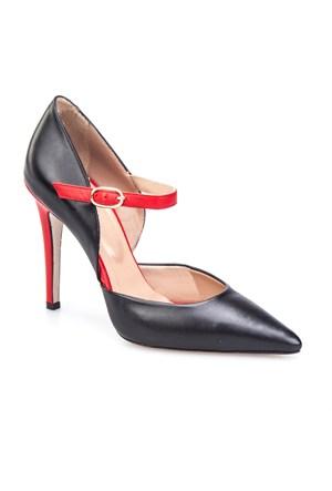 Cabani Bilekten Tokalı Günlük Kadın Ayakkabı Siyah Deri