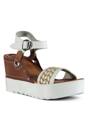 Marjin Donya Dolgu Sandalet Beyaz