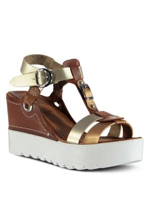 Marjin Afyas Dolgu Sandalet Altın