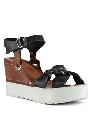 Marjin Rularte Dolgu Sandalet Siyah