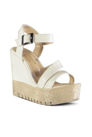 Marjin Ritza Dolgu Topuklu Sandalet Beyaz