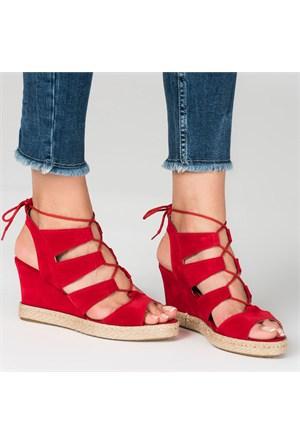 Marjin Kelven Topuklu Ayakkabı Kırmızı Süet