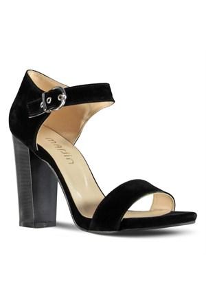 Marjin Lina Topuklu Ayakkabı Siyah Süet