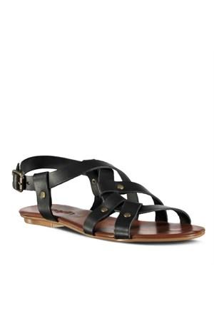 Marjin Outlet Kisel Düz Deri Sandalet Siyah