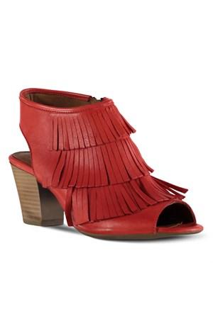 Marjin Burasi Deri Topuklu Ayakkabı Kırmızı