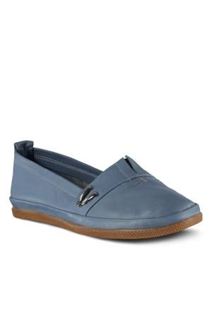 Marjin Avenge Düz Deri Ayakkabı Kot Mavi