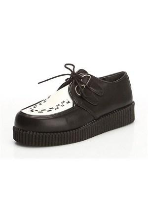 Köstebek Creepers Ayakkabı Siyah Beyaz
