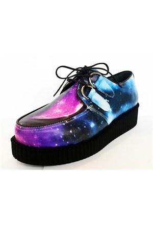 Köstebek Hologram Yüksek Tabanlı Creepers Ayakkabı