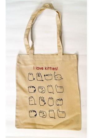 Köstebek I Love Kitties Bez Çanta
