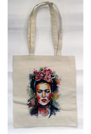 Köstebek Frida Kahlo - Water Color Bez Çanta