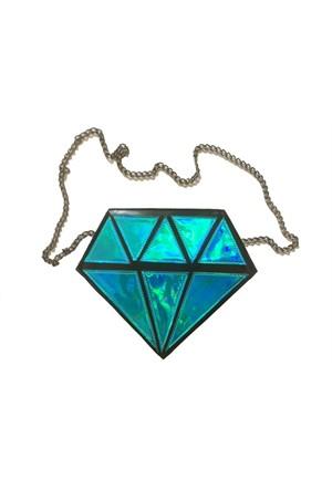 Köstebek Turquoise Hologram Diamond Çanta