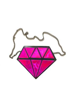 Köstebek Pink Hologram Diamond Çanta