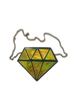 Köstebek Yellow Hologram Diamond Çanta