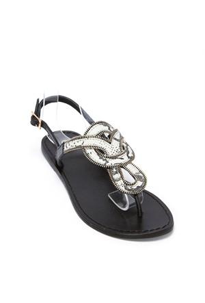 Pieces Sandalet Carmen Zip Leather 17056897-Blk