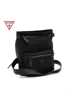Guess Çanta Hm2548 Nyl61 Crossover Top Zip Crossbody Black