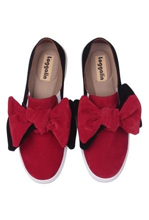 Loggalin 126128 031 507 Kadın Siyah Kırmızı Ayakkabı